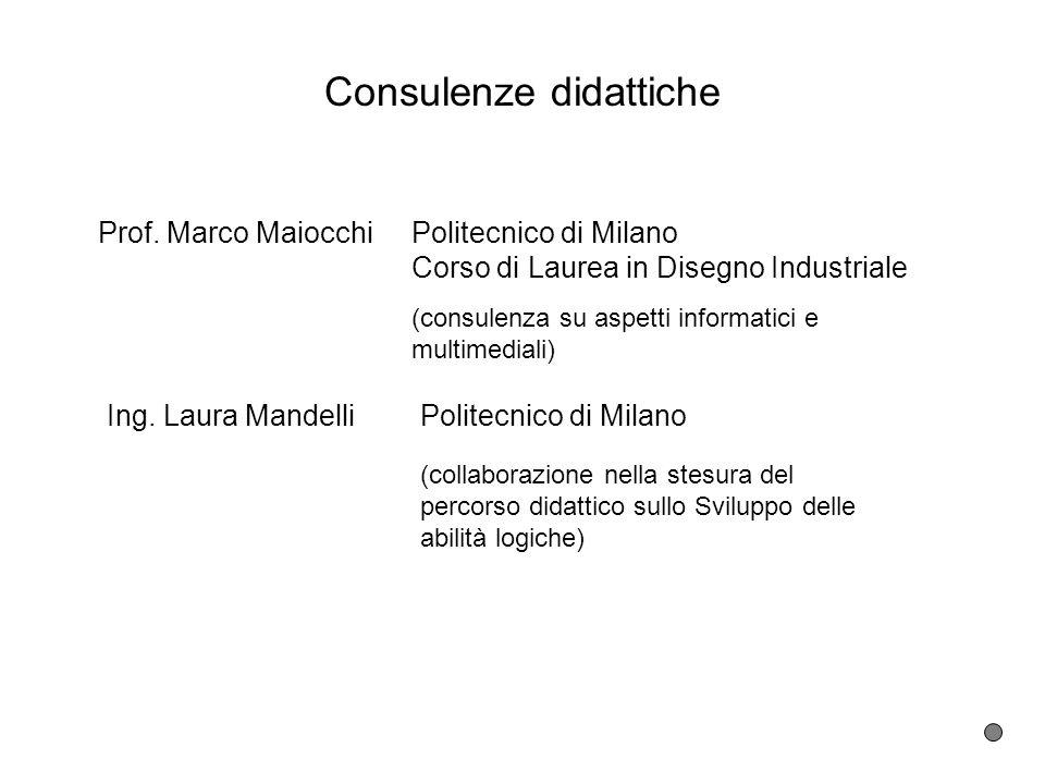 Consulenze didattiche Prof. Marco Maiocchi Politecnico di Milano Corso di Laurea in Disegno Industriale Ing. Laura Mandelli Politecnico di Milano (con