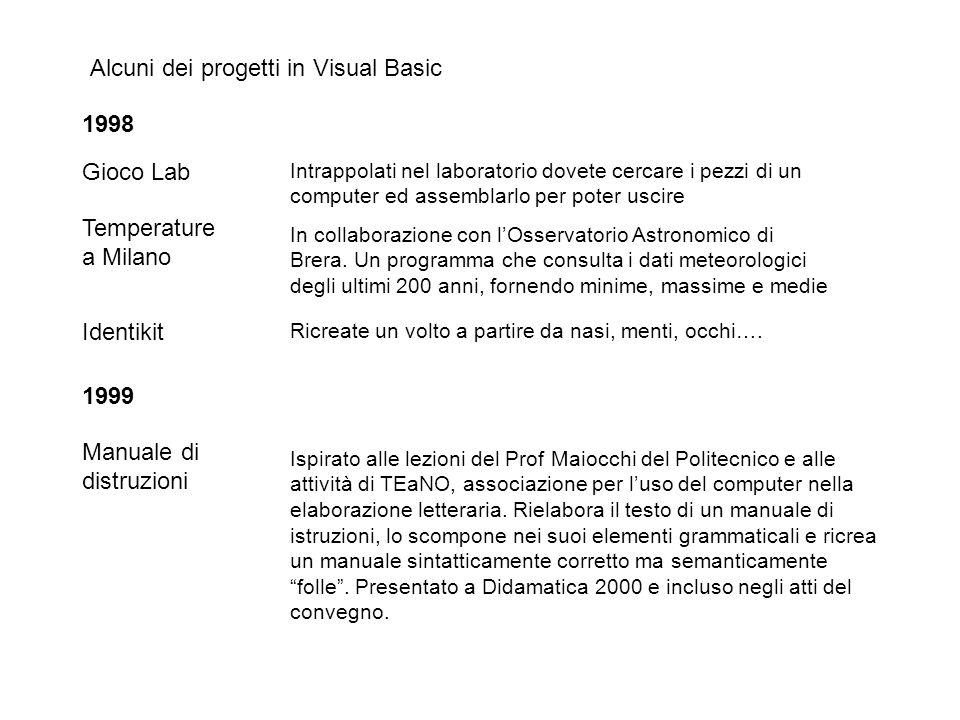Alcuni dei progetti in Visual Basic 1998 Gioco Lab Intrappolati nel laboratorio dovete cercare i pezzi di un computer ed assemblarlo per poter uscire