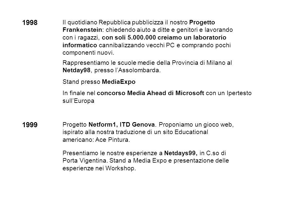 1998 Rappresentiamo le scuole medie della Provincia di Milano al Netday98, presso lAssolombarda. Stand presso MediaExpo In finale nel concorso Media A