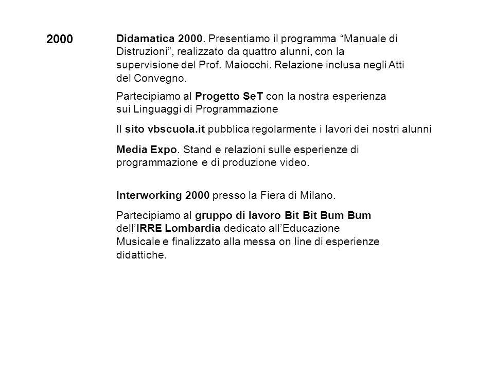 2000 Didamatica 2000. Presentiamo il programma Manuale di Distruzioni, realizzato da quattro alunni, con la supervisione del Prof. Maiocchi. Relazione