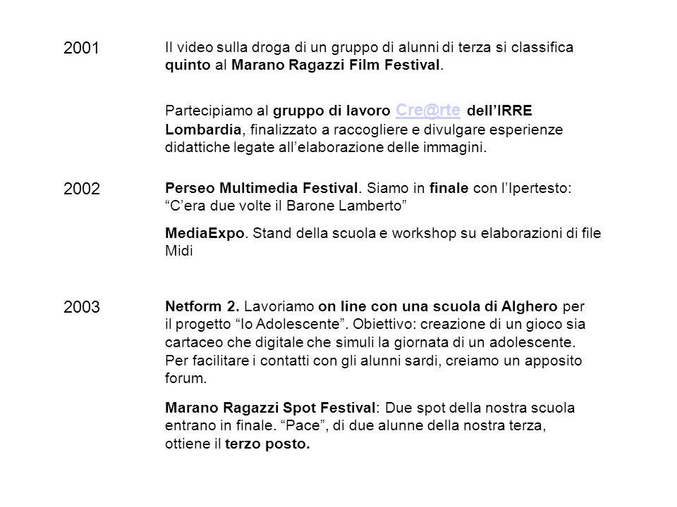 2001 Il video sulla droga di un gruppo di alunni di terza si classifica quinto al Marano Ragazzi Film Festival. 2003 Netform 2. Lavoriamo on line con