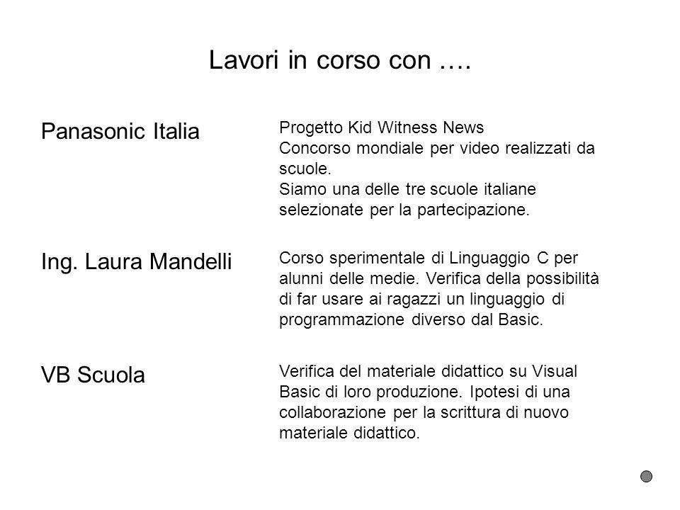 Lavori in corso con …. Panasonic Italia Progetto Kid Witness News Concorso mondiale per video realizzati da scuole. Siamo una delle tre scuole italian
