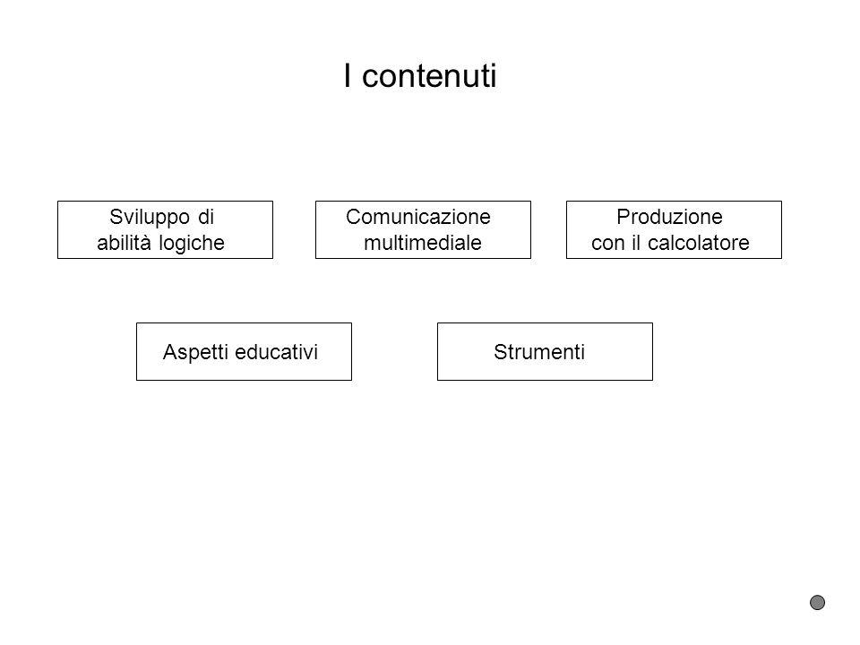 I contenuti Sviluppo di abilità logiche Comunicazione multimediale Produzione con il calcolatore Aspetti educativiStrumenti