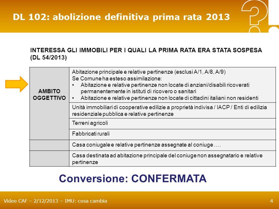 Video CAF – 2/12/2013 – IMU: cosa cambia25 Aliquote applicabili per il saldo Pubblicazione delibere sul sito istituzionale di ogni Comune.