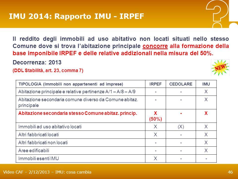 Video CAF – 2/12/2013 – IMU: cosa cambia46 IMU 2014: Rapporto IMU - IRPEF Il reddito degli immobili ad uso abitativo non locati situati nello stesso C