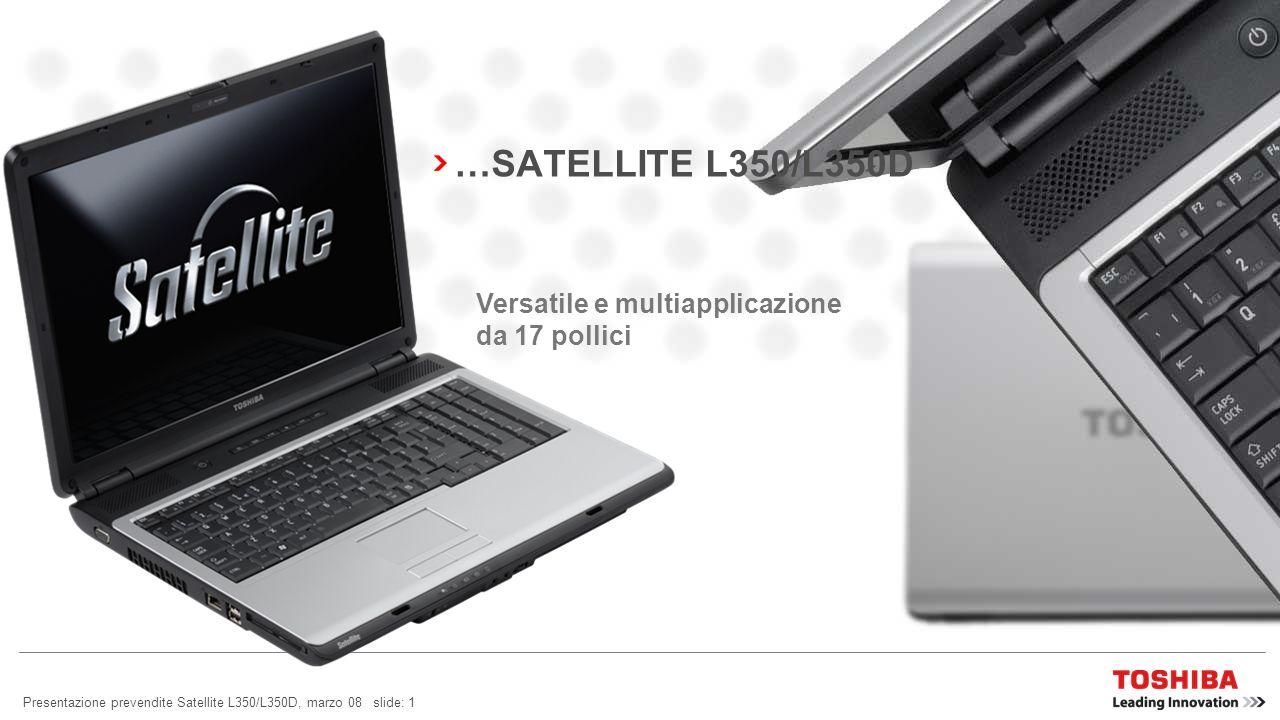 Presentazione prevendite Satellite L350/L350D, marzo 08 slide: 11 SATELLITE L350/L350D: FACILITÀ DUSO Barra multimediale e funzioni La barra multimediale 6 Easy Keys vi consente di accedere istantaneamente al mondo dei multimedia.