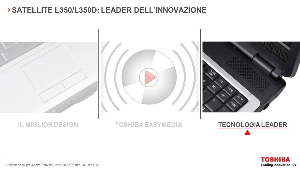Presentazione prevendite Satellite L350/L350D, marzo 08 slide: 11 SATELLITE L350/L350D: FACILITÀ DUSO Barra multimediale e funzioni La barra multimedi