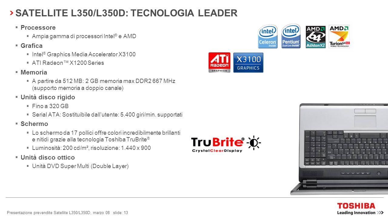 Presentazione prevendite Satellite L350/L350D, marzo 08 slide: 12 SATELLITE L350/L350D: LEADER DELLINNOVAZIONE TOSHIBA EASYMEDIA TECNOLOGIA LEADERIL M