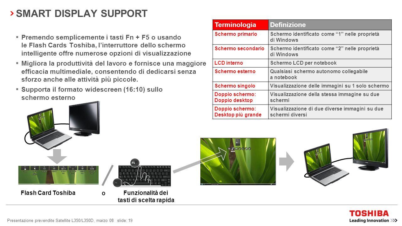 Presentazione prevendite Satellite L350/L350D, marzo 08 slide: 18 Toshiba Face Recognition è un software specializzato Scatta unistantanea digitale de