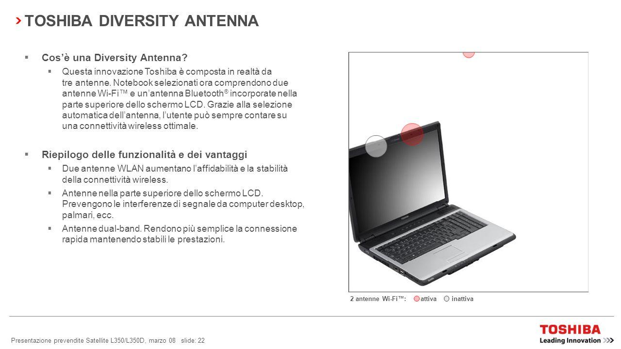 Presentazione prevendite Satellite L350/L350D, marzo 08 slide: 21 Radar wireless Visualizzazione dei punti di accesso Wi-Fi e Bluetooth ® nelle vicina