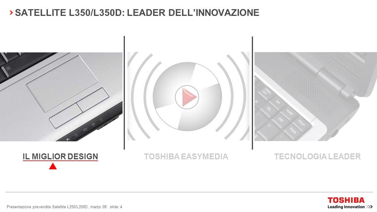 Presentazione prevendite Satellite L350/L350D, marzo 08 slide: 4 SATELLITE L350/L350D: LEADER DELLINNOVAZIONE TOSHIBA EASYMEDIA TECNOLOGIA LEADERIL MIGLIOR DESIGN