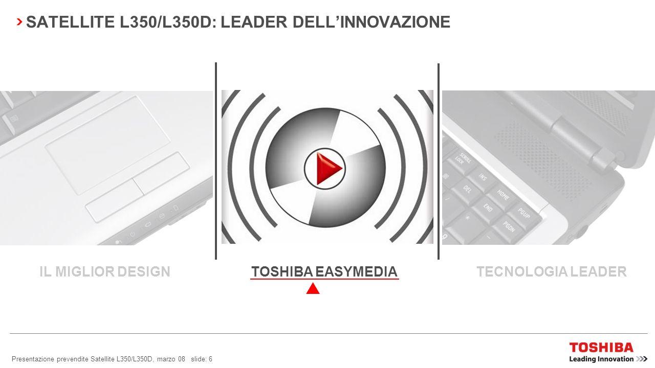 Presentazione prevendite Satellite L350/L350D, marzo 08 slide: 6 SATELLITE L350/L350D: LEADER DELLINNOVAZIONE TOSHIBA EASYMEDIA TECNOLOGIA LEADERIL MIGLIOR DESIGN