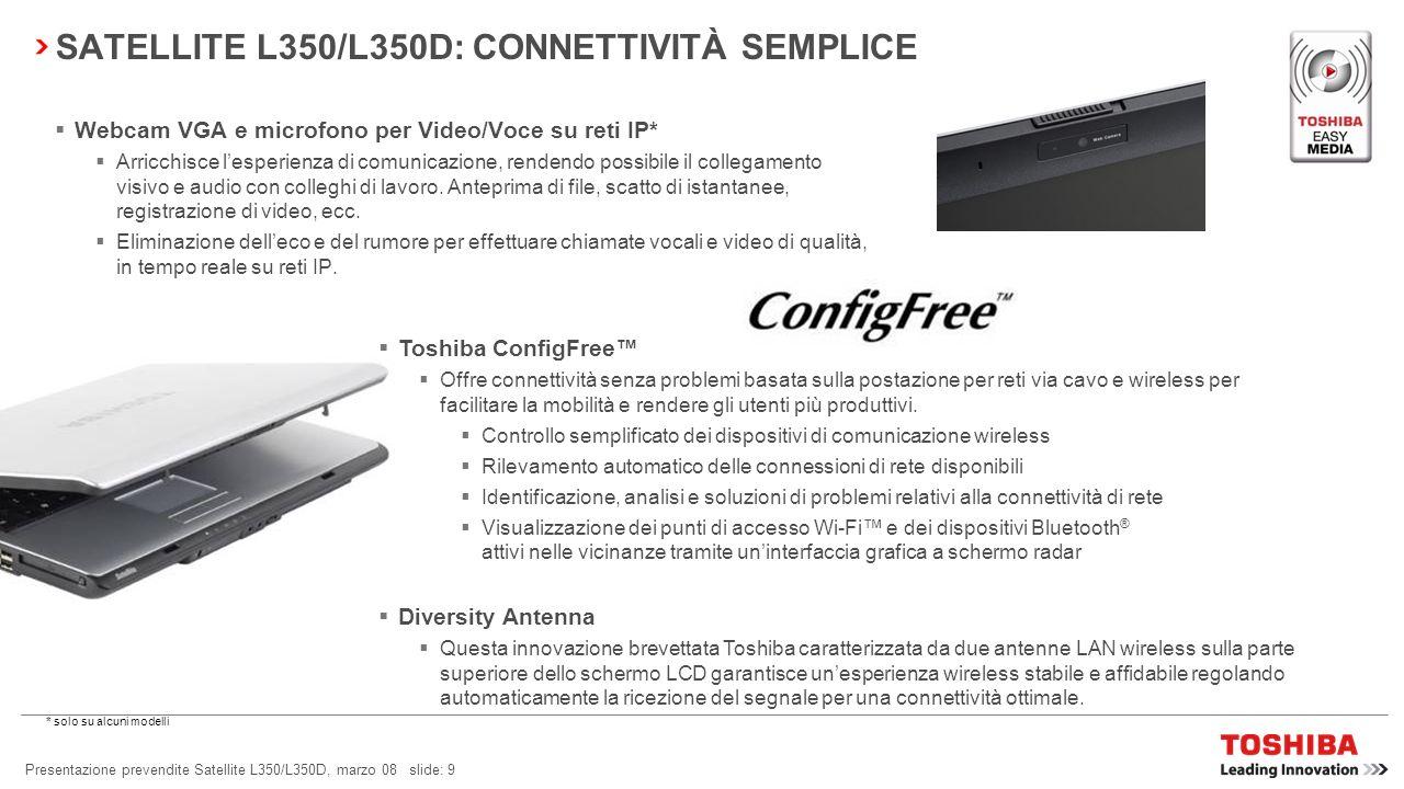 Presentazione prevendite Satellite L350/L350D, marzo 08 slide: 9 SATELLITE L350/L350D: CONNETTIVITÀ SEMPLICE Webcam VGA e microfono per Video/Voce su reti IP* Arricchisce lesperienza di comunicazione, rendendo possibile il collegamento visivo e audio con colleghi di lavoro.