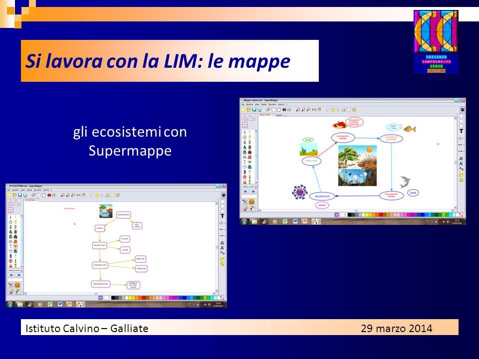 Istituto Calvino – Galliate29 marzo 2014 Si lavora con la LIM: le mappe gli ecosistemi con Supermappe