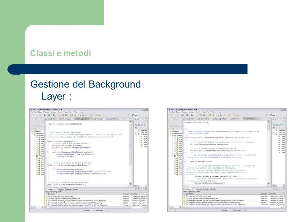 Classi e metodi Gestione del Background Layer :