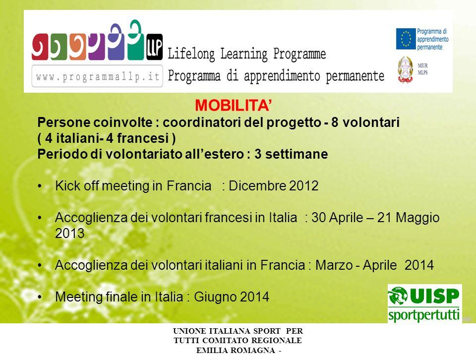 UNIONE ITALIANA SPORT PER TUTTI COMITATO REGIONALE EMILIA ROMAGNA - MOBILITA Persone coinvolte : coordinatori del progetto - 8 volontari ( 4 italiani-