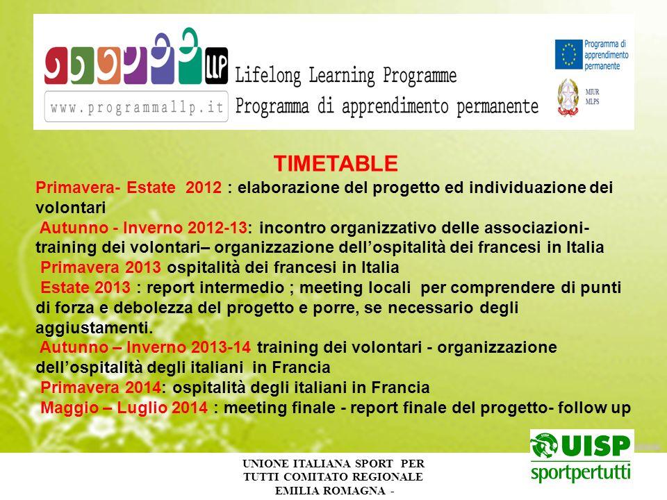 UNIONE ITALIANA SPORT PER TUTTI COMITATO REGIONALE EMILIA ROMAGNA - TIMETABLE Primavera- Estate 2012 : elaborazione del progetto ed individuazione dei