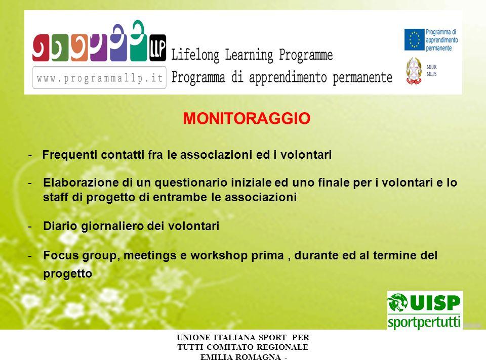 UNIONE ITALIANA SPORT PER TUTTI COMITATO REGIONALE EMILIA ROMAGNA - MONITORAGGIO - Frequenti contatti fra le associazioni ed i volontari -Elaborazione