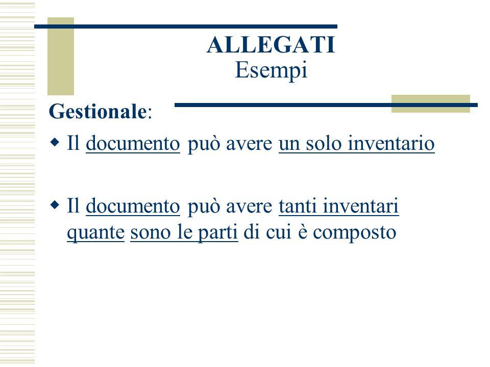 ALLEGATI Esempi Gestionale: Il documento può avere un solo inventario Il documento può avere tanti inventari quante sono le parti di cui è composto