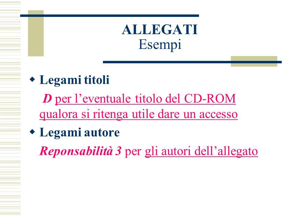 ALLEGATI Esempi Legami titoli D per leventuale titolo del CD-ROM qualora si ritenga utile dare un accesso Legami autore Reponsabilità 3 per gli autori dellallegato