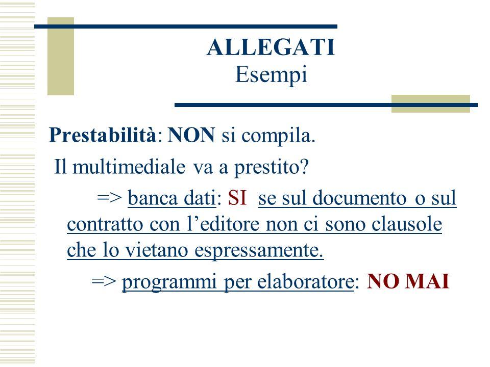 ALLEGATI Esempi Prestabilità: NON si compila. Il multimediale va a prestito.