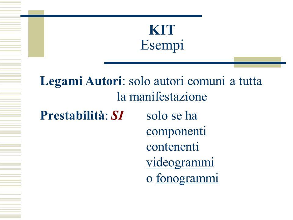 KIT Esempi Legami Autori: solo autori comuni a tutta la manifestazione Prestabilità: SIsolo se ha componenti contenenti videogrammi o fonogrammi