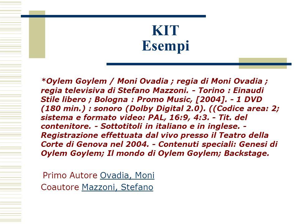 KIT Esempi *Oylem Goylem / Moni Ovadia ; regia di Moni Ovadia ; regia televisiva di Stefano Mazzoni.