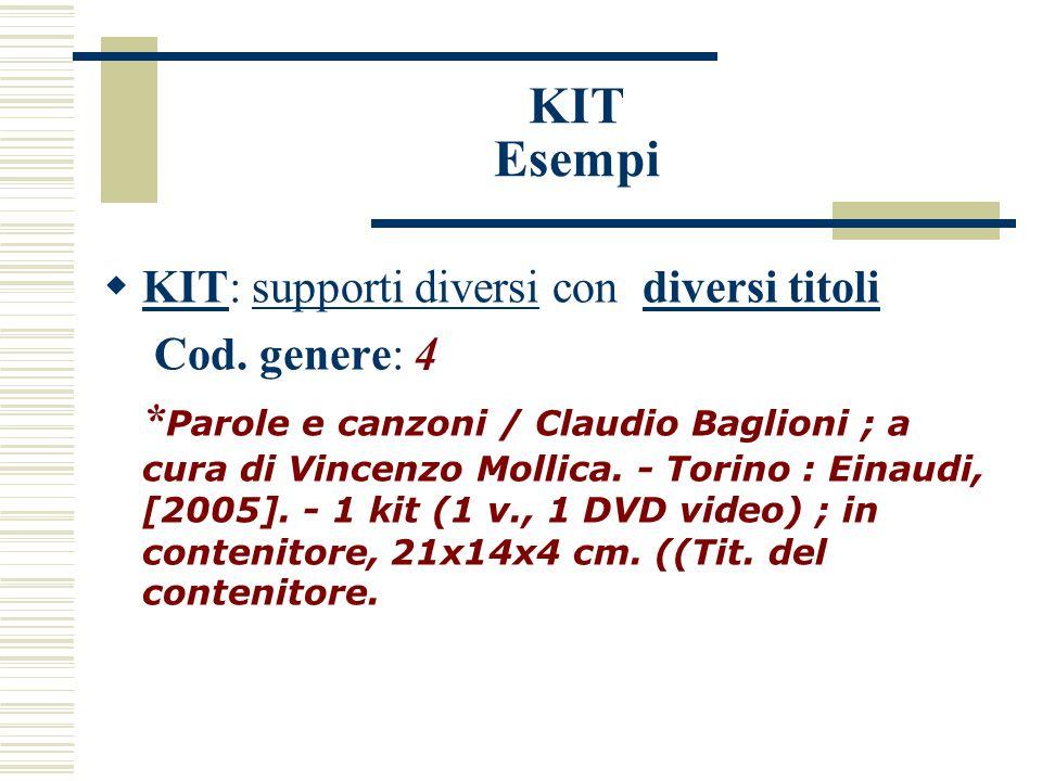 KIT Esempi KIT: supporti diversi con diversi titoli Cod.