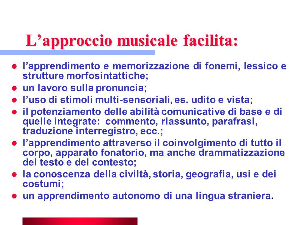 Lapproccio musicale facilita: lapprendimento e memorizzazione di fonemi, lessico e strutture morfosintattiche; un lavoro sulla pronuncia; luso di stim