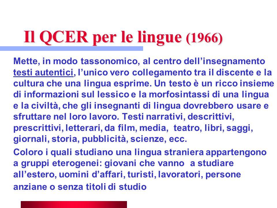 Il QCER per le lingue (1966) Mette, in modo tassonomico, al centro dellinsegnamento testi autentici, lunico vero collegamento tra il discente e la cul