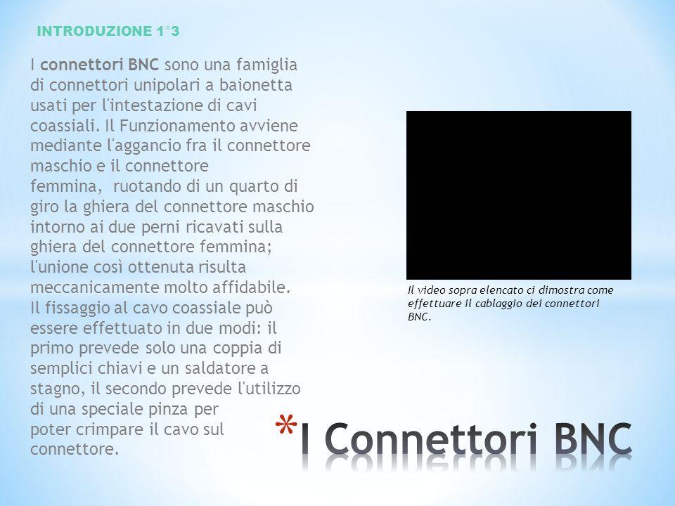 I connettori BNC sono una famiglia di connettori unipolari a baionetta usati per l'intestazione di cavi coassiali. Il Funzionamento avviene mediante l
