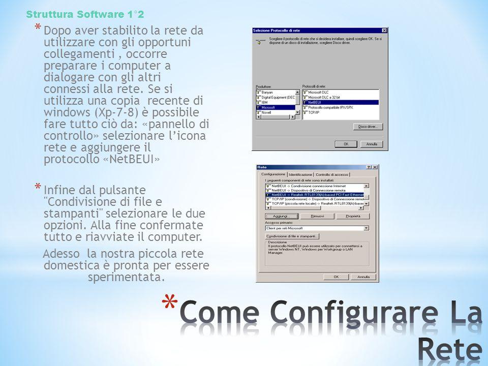 * Dopo aver stabilito la rete da utilizzare con gli opportuni collegamenti, occorre preparare i computer a dialogare con gli altri connessi alla rete.