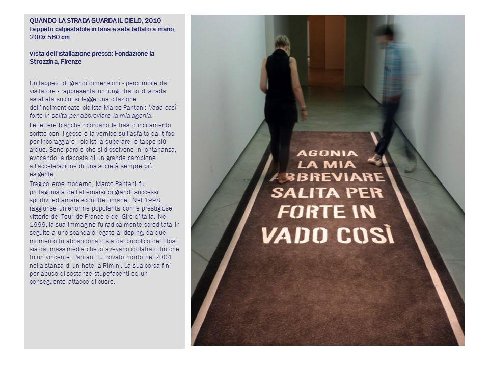 QUANDO LA STRADA GUARDA IL CIELO, 2010 tappeto calpestabile in lana e seta taftato a mano, 200x 560 cm vista dellistallazione presso: Fondazione la St