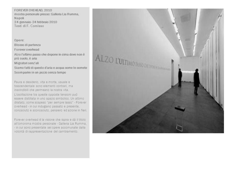 FOREVER OVEHEAD, 2010 mostra personale presso: Galleria Lia Rumma, Napoli 24 gennaio- 24 febbraio 2010 Testi di F. Comisso Opere: Blocco di partenza F