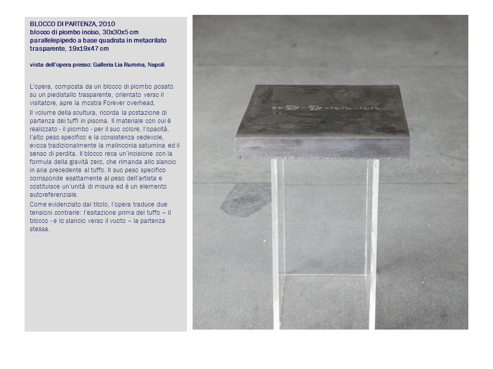 BLOCCO DI PARTENZA, 2010 blocco di piombo inciso, 30x30x5 cm parallelepipedo a base quadrata in metacrilato trasparente, 19x19x47 cm vista dellopera p