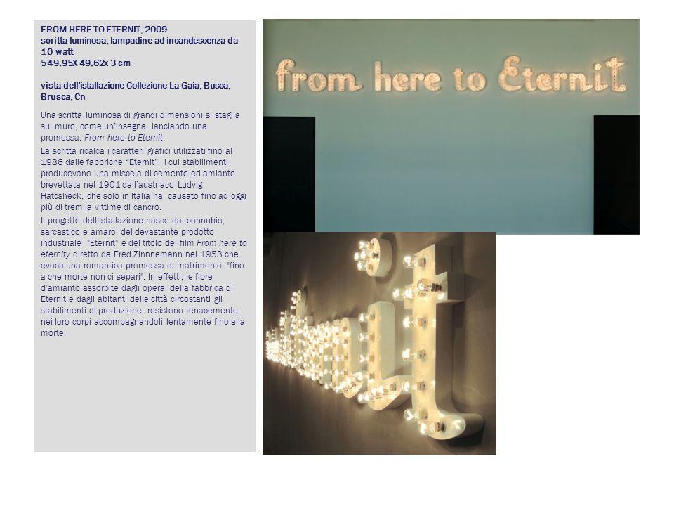 FROM HERE TO ETERNIT, 2009 scritta luminosa, lampadine ad incandescenza da 10 watt 549,95X 49,62x 3 cm vista dellistallazione Collezione La Gaia, Busc