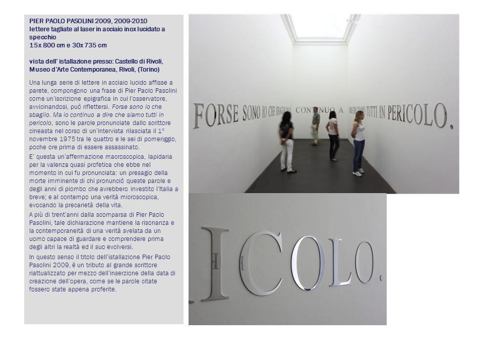 PIER PAOLO PASOLINI 2009, 2009-2010 lettere tagliate al laser in acciaio inox lucidato a specchio 15x 800 cm e 30x 735 cm vista dell istallazione pres
