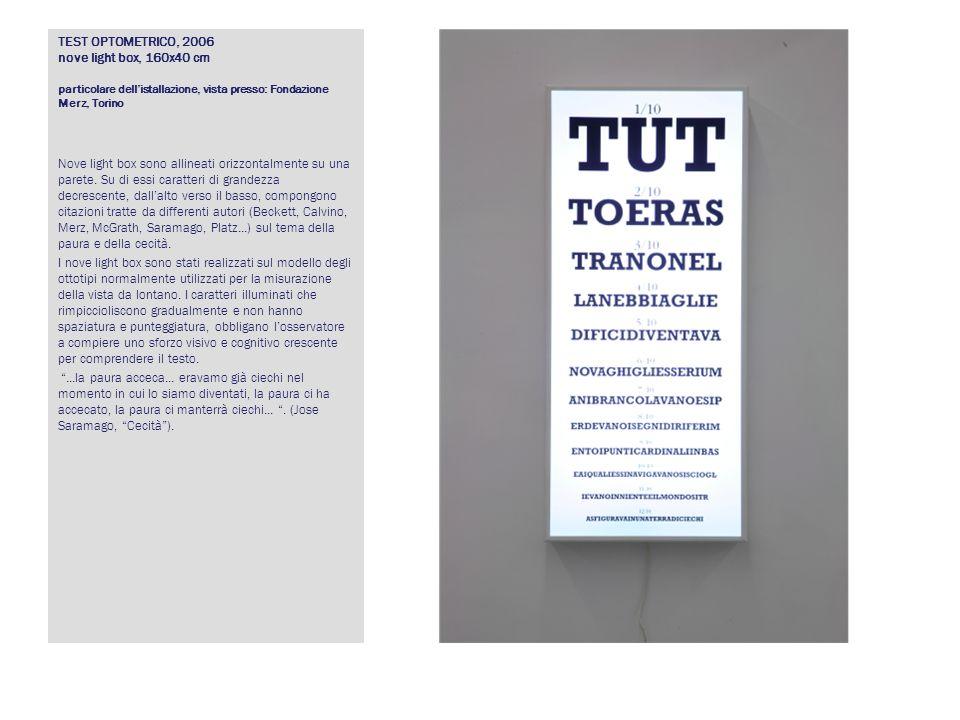 TEST OPTOMETRICO, 2006 nove light box, 160x40 cm particolare dellistallazione, vista presso: Fondazione Merz, Torino Nove light box sono allineati ori