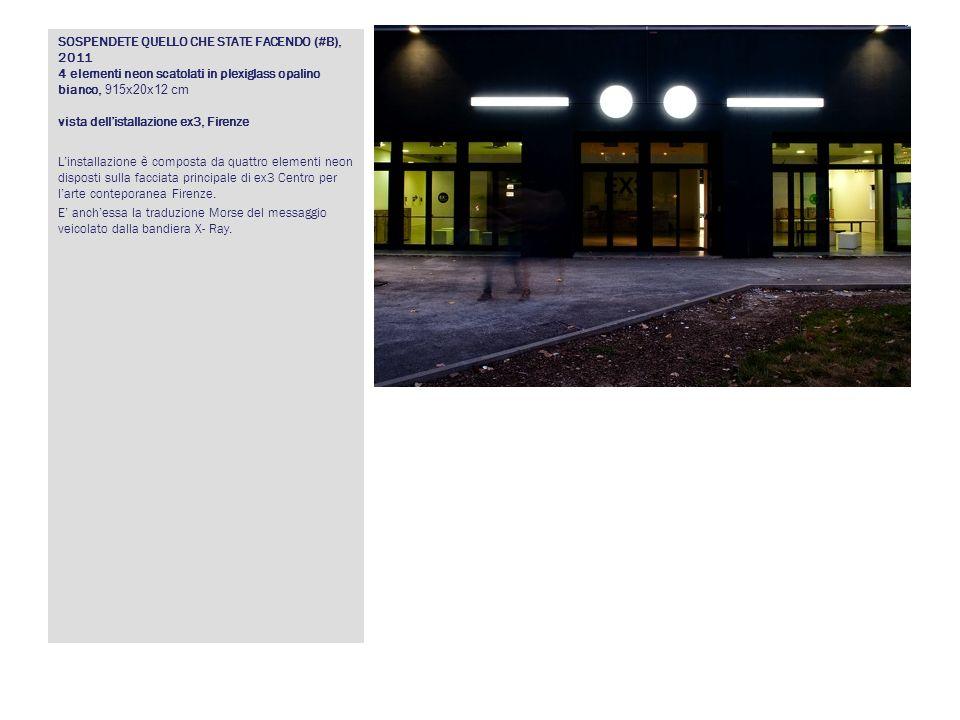 SOSPENDETE QUELLO CHE STATE FACENDO (#B), 2011 4 elementi neon scatolati in plexiglass opalino bianco, 915x20x12 cm vista dellistallazione ex3, Firenz