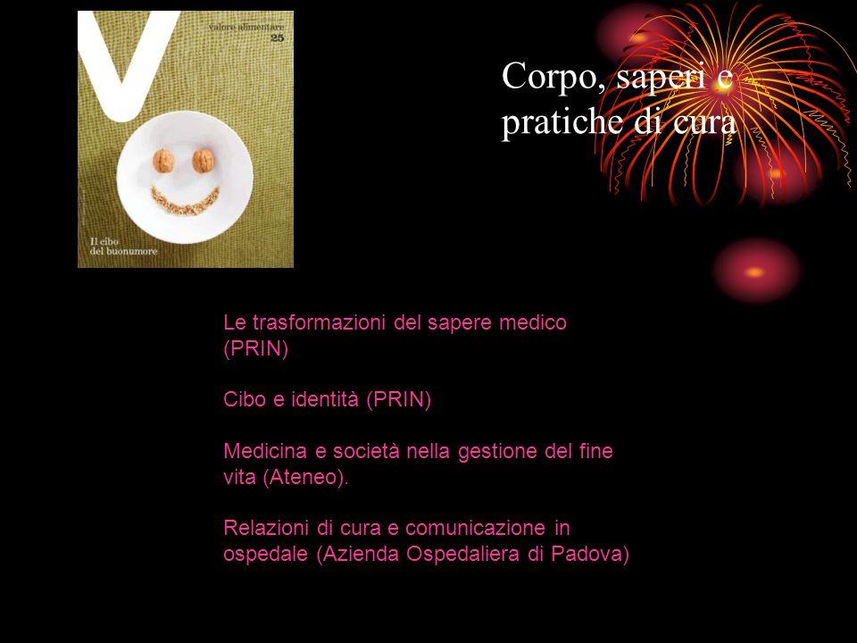 Corpo, saperi e pratiche di cura Le trasformazioni del sapere medico (PRIN) Cibo e identità (PRIN) Medicina e società nella gestione del fine vita (At