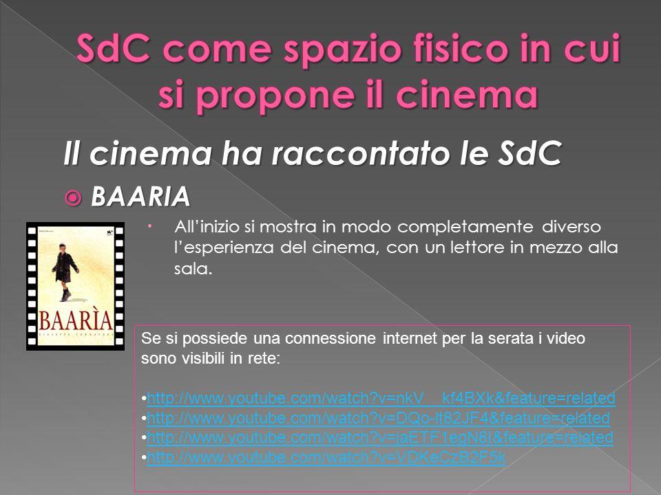 Il cinema ha raccontato le SdC BAARIA BAARIA Allinizio si mostra in modo completamente diverso lesperienza del cinema, con un lettore in mezzo alla sala.