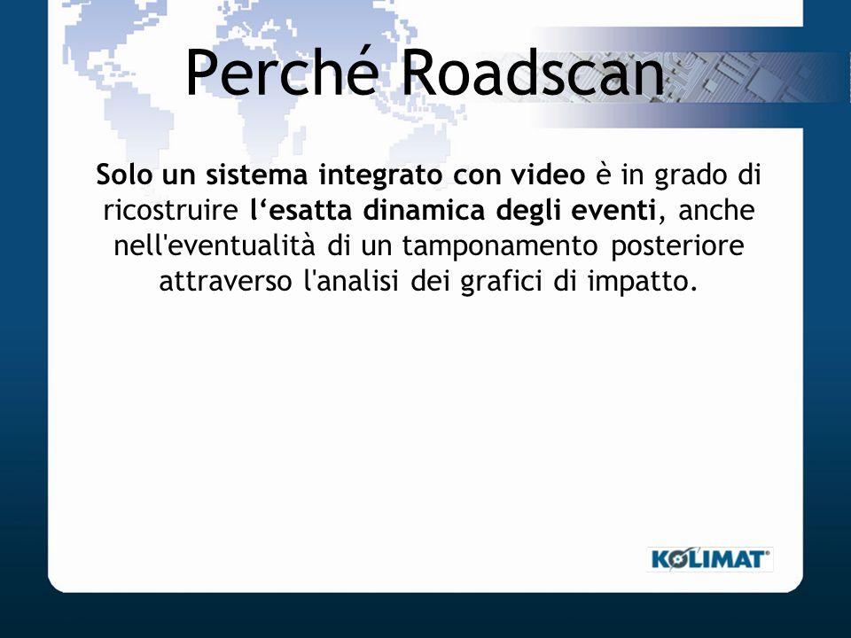 Perché Roadscan Solo un sistema integrato con video è in grado di ricostruire lesatta dinamica degli eventi, anche nell'eventualità di un tamponamento