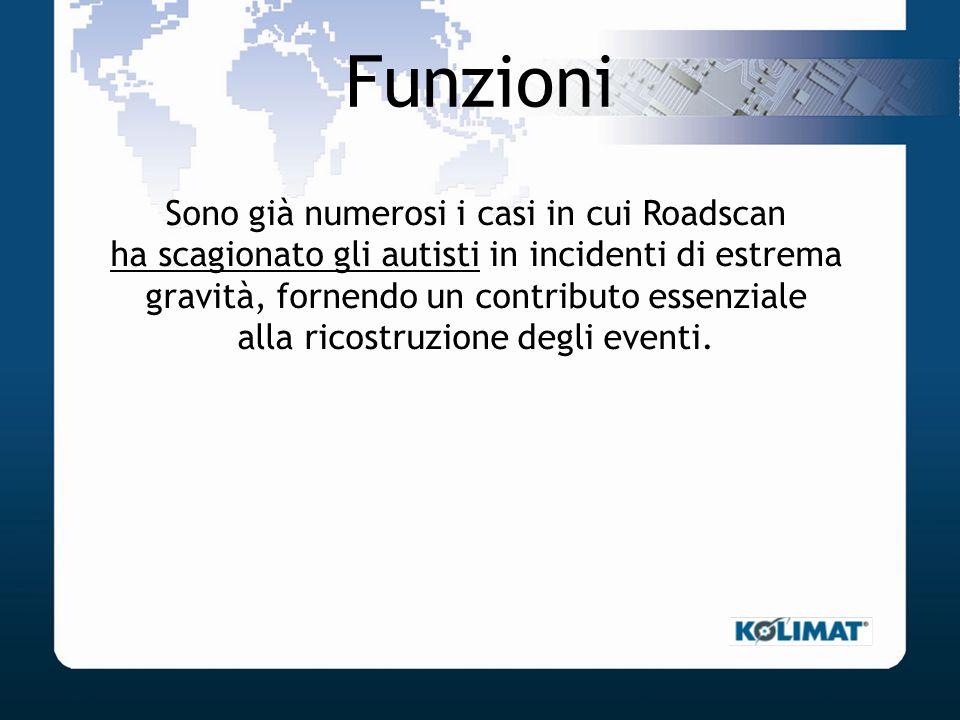 Funzioni Sono già numerosi i casi in cui Roadscan ha scagionato gli autisti in incidenti di estrema gravità, fornendo un contributo essenziale alla ri