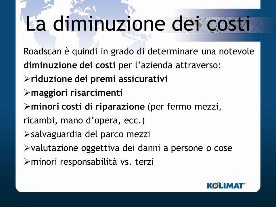 La diminuzione dei costi Roadscan è quindi in grado di determinare una notevole diminuzione dei costi per lazienda attraverso: riduzione dei premi ass
