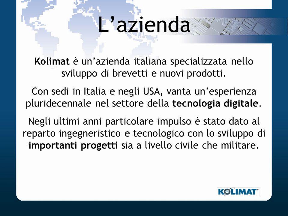 Lazienda Kolimat è unazienda italiana specializzata nello sviluppo di brevetti e nuovi prodotti. Con sedi in Italia e negli USA, vanta unesperienza pl