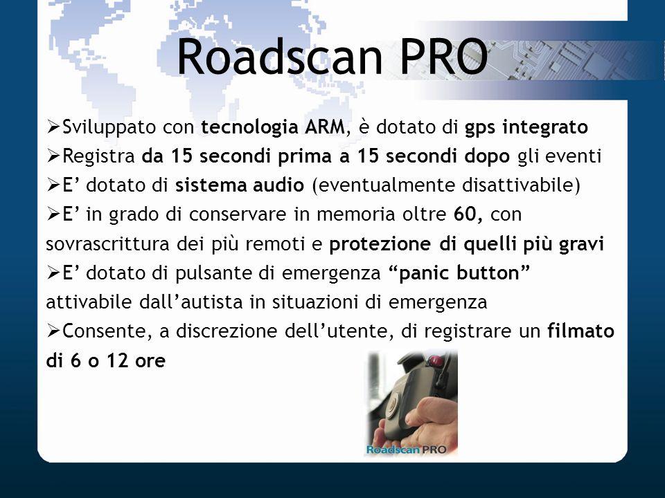Roadscan PRO Sviluppato con tecnologia ARM, è dotato di gps integrato Registra da 15 secondi prima a 15 secondi dopo gli eventi E dotato di sistema au