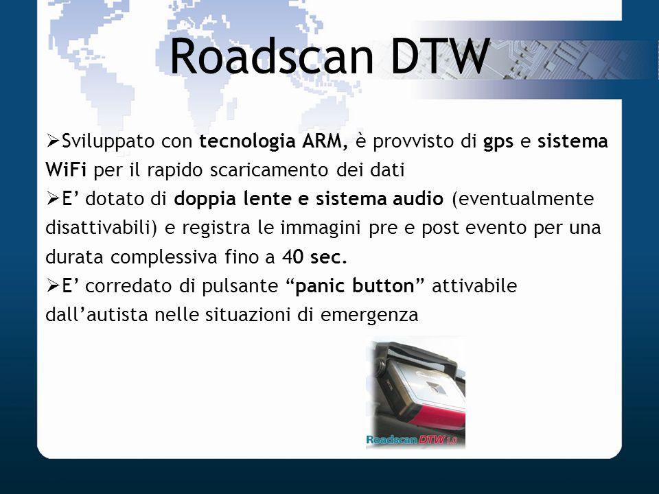 Roadscan DTW Sviluppato con tecnologia ARM, è provvisto di gps e sistema WiFi per il rapido scaricamento dei dati E dotato di doppia lente e sistema a