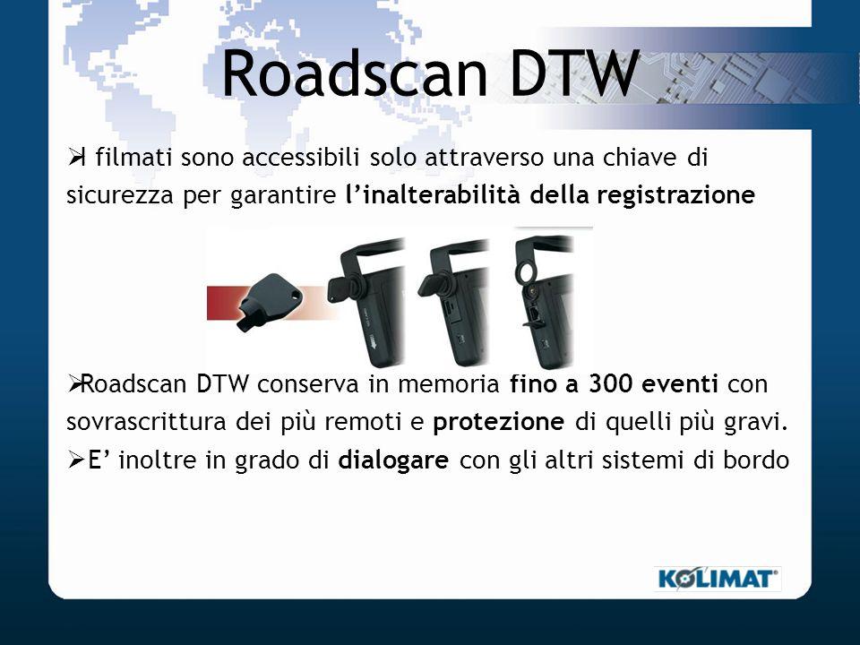 Roadscan DTW I filmati sono accessibili solo attraverso una chiave di sicurezza per garantire linalterabilità della registrazione Roadscan DTW conserv