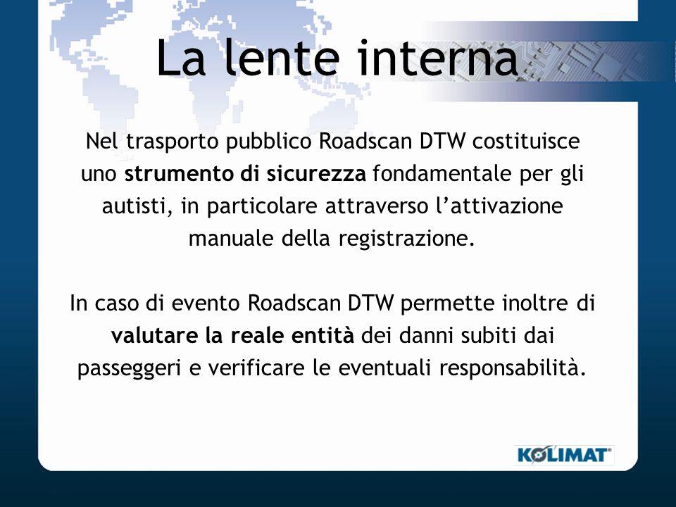 La lente interna Nel trasporto pubblico Roadscan DTW costituisce uno strumento di sicurezza fondamentale per gli autisti, in particolare attraverso la