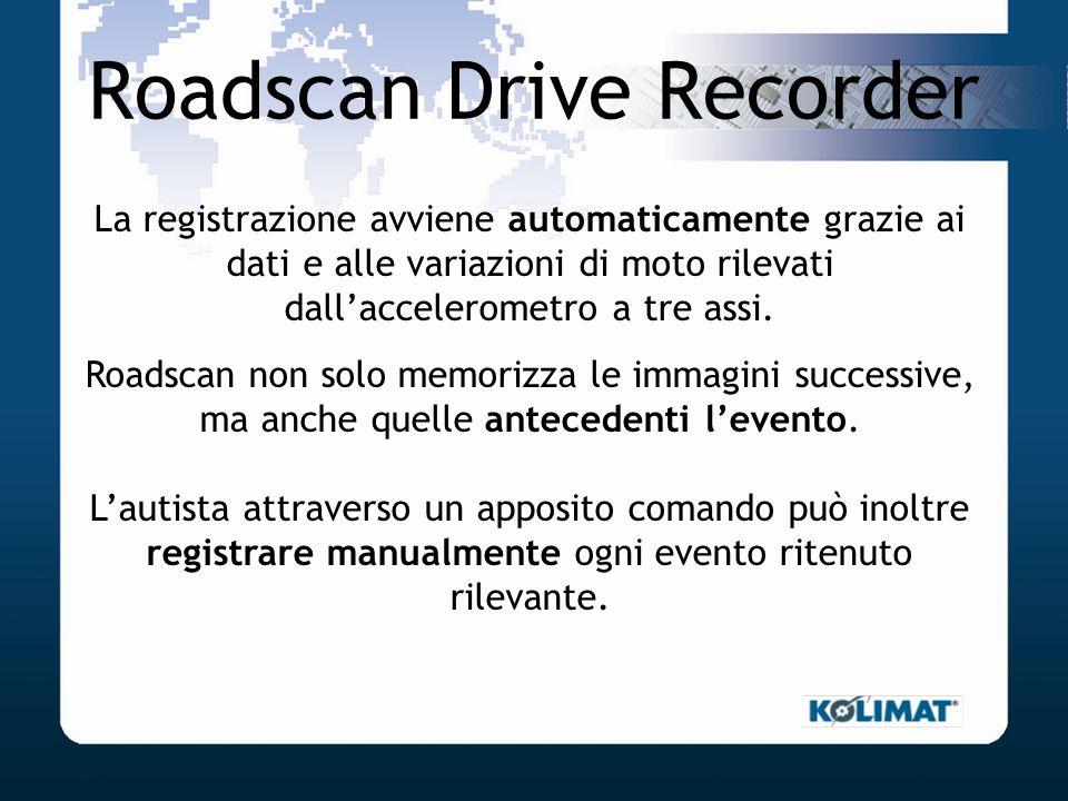 Roadscan Drive Recorder La registrazione avviene automaticamente grazie ai dati e alle variazioni di moto rilevati dallaccelerometro a tre assi. Roads